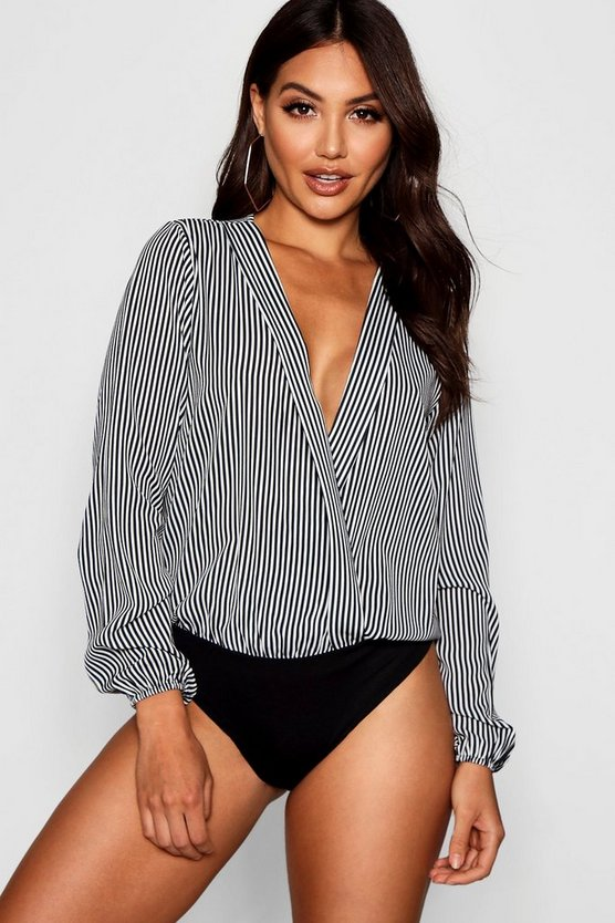 Stripe Lapel Wrap Detail Bodysuit