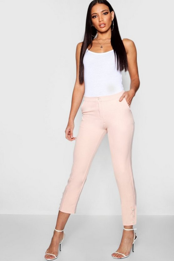 Pearl Button Tapered Trousers