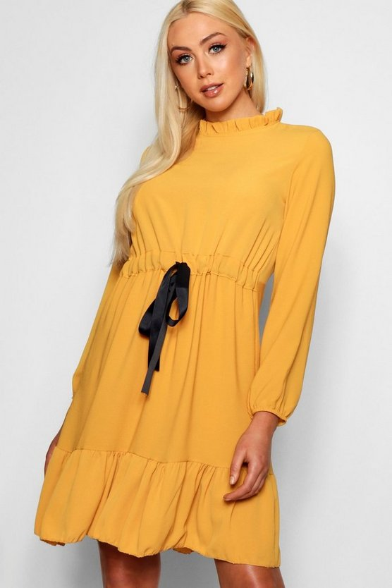 Ribbon Tie Ruffle Detail Dress