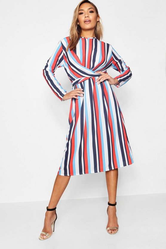Stripe Wrap Front Woven Midi Dress