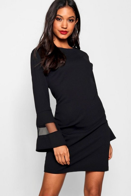Mia Mesh Insert Flute Sleeve Shift Dress