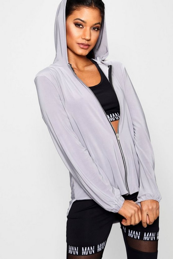 Beth Slinky Longline Zip Through Hoody