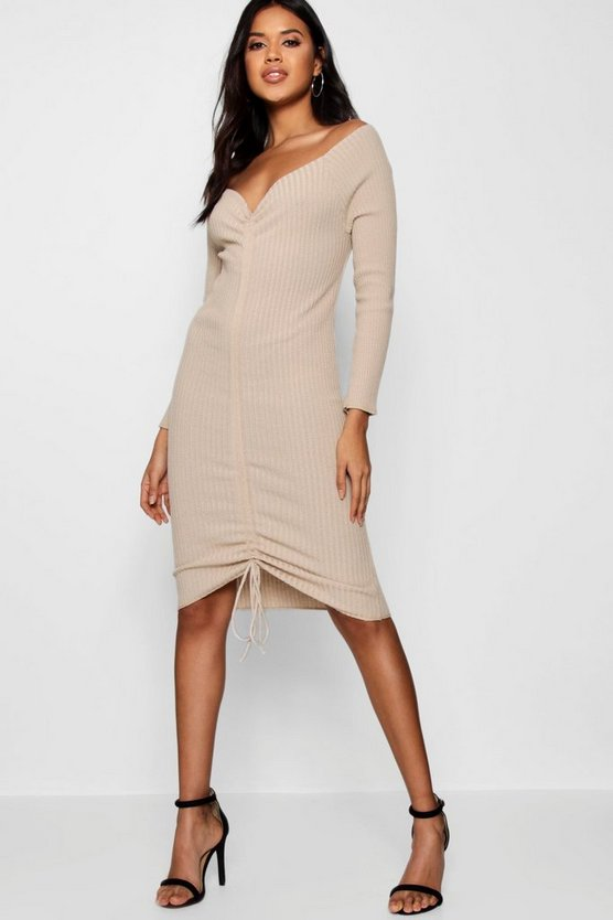 Ruched Front Rib Bodycon Dress