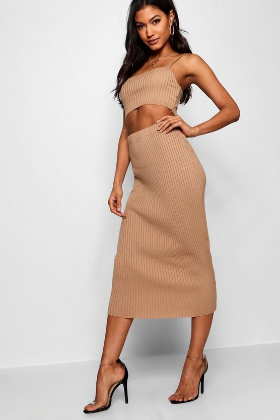 Rib Knit Midi Skirt Co-ord