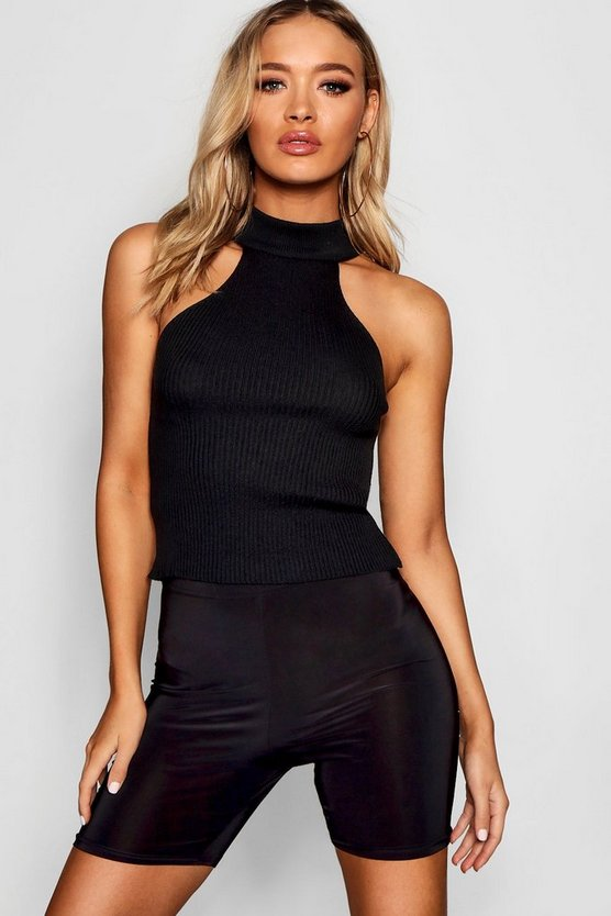 Rib Knit Cut Out Top