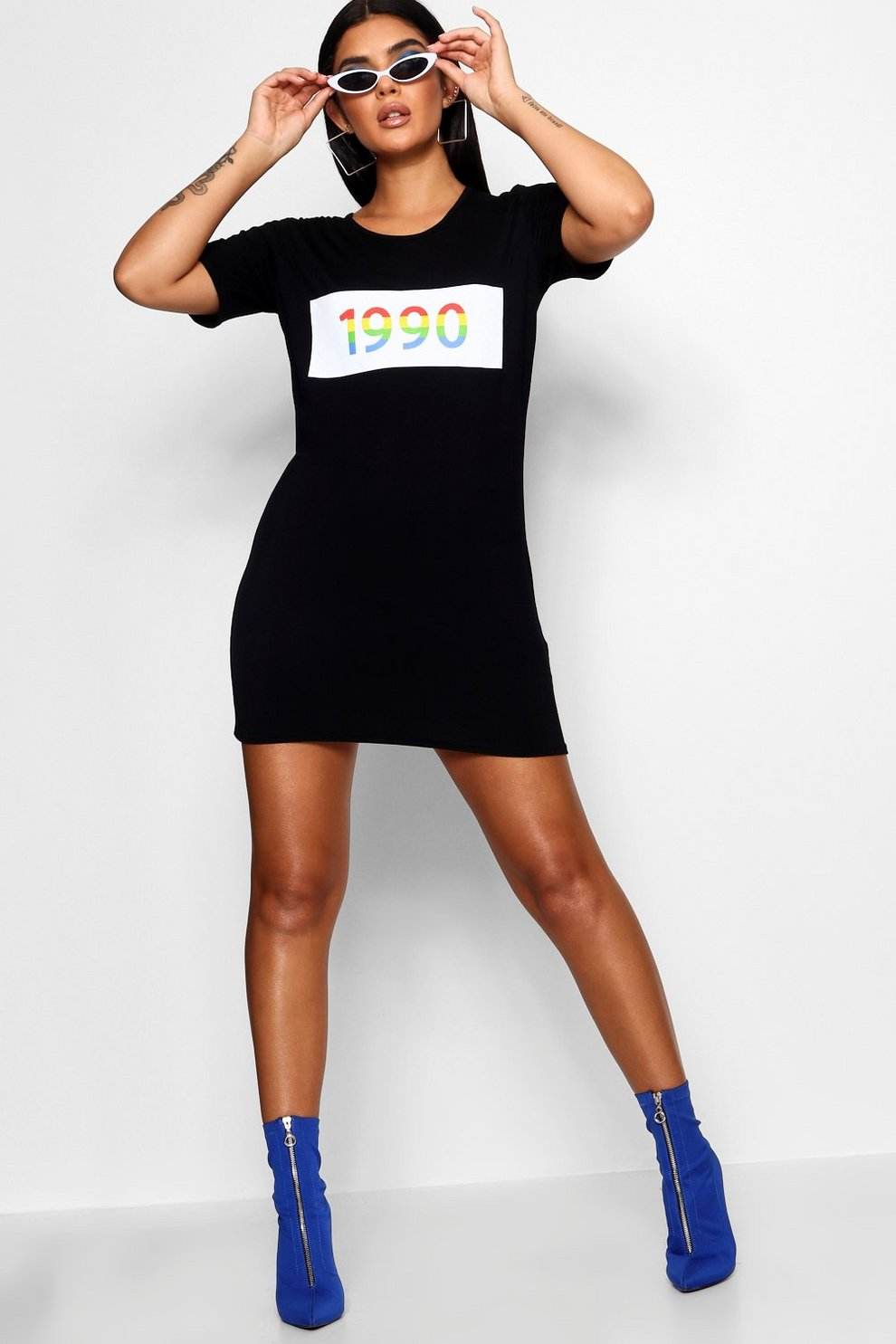 Boohoo 1990 Rainbow Slogan T-Shirt Dress Discount Outlet Free Shipping Countdown Package Sale Great Deals New Arrival Cheap Price Genuine tapm0pJQy