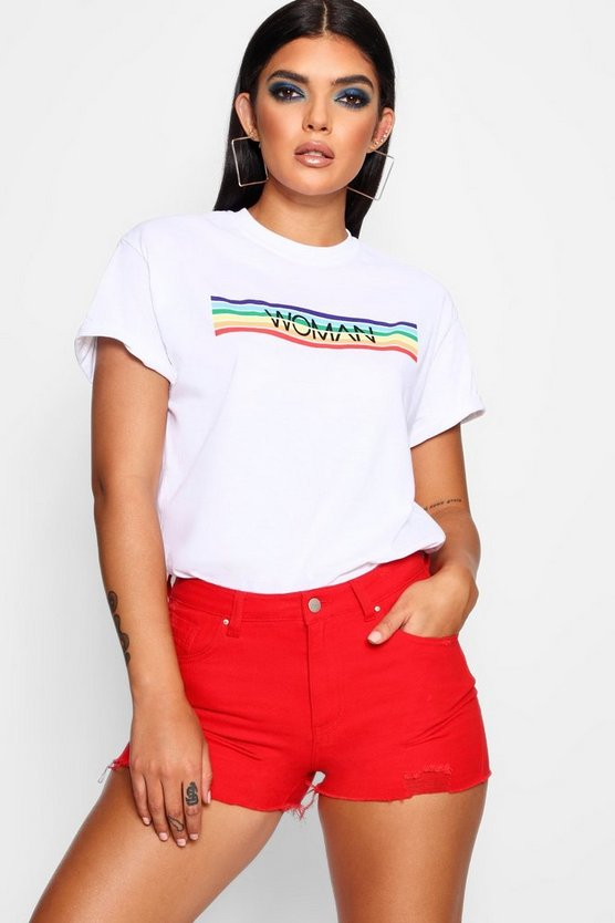 Woman Rainbow Stripe Block T-Shirt