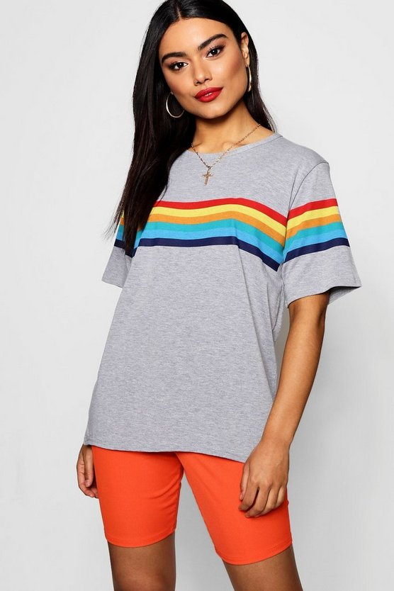Rainbow Chest And Sleeve Oversized T-Shirt