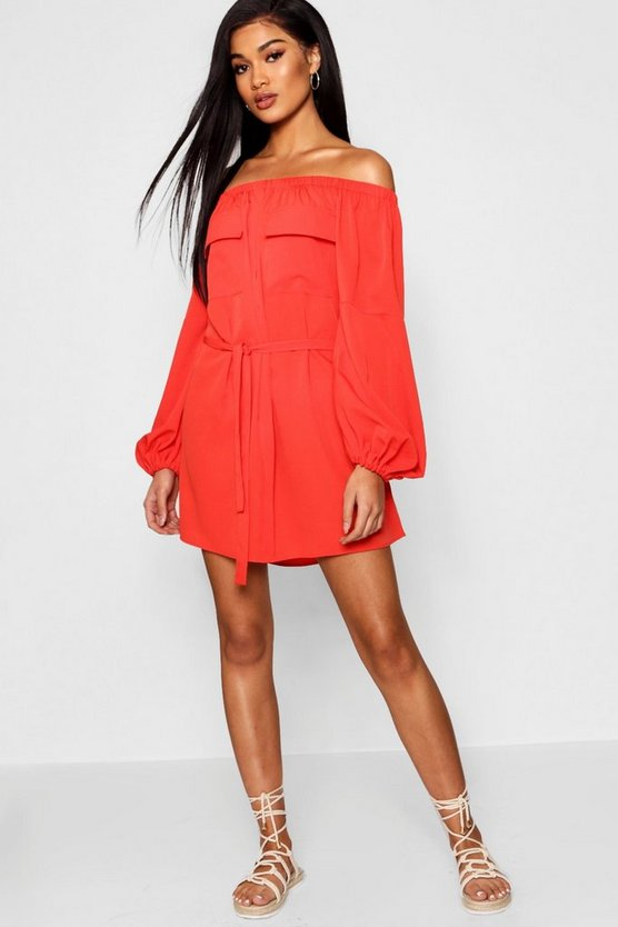 Olivia Off The Shoulder Safari Pocket Shift Dress
