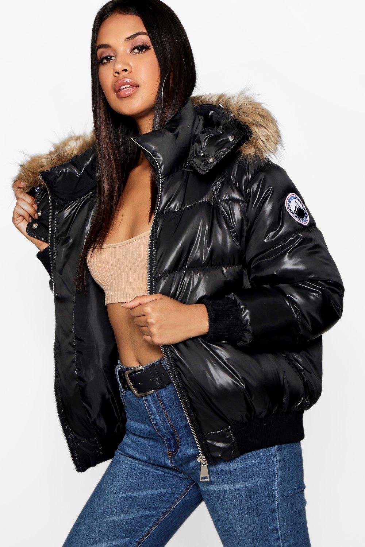 Купить Coats & Jackets, Отделкой из искусственного меха Cire пуховая куртка, boohoo