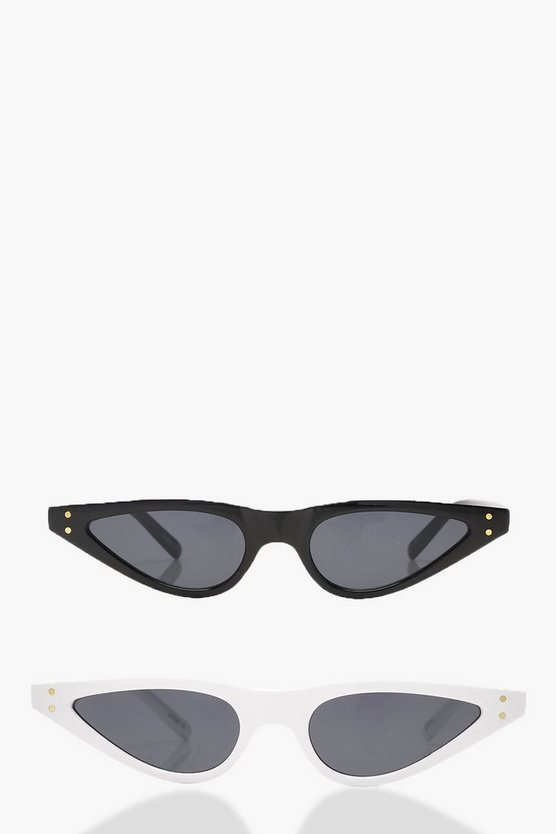 Lucy 2 Pack Skinny Cat Eye Sunglasses