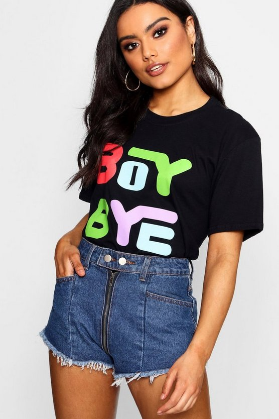 Boy Bye Multi Colour Printed T-Shirt
