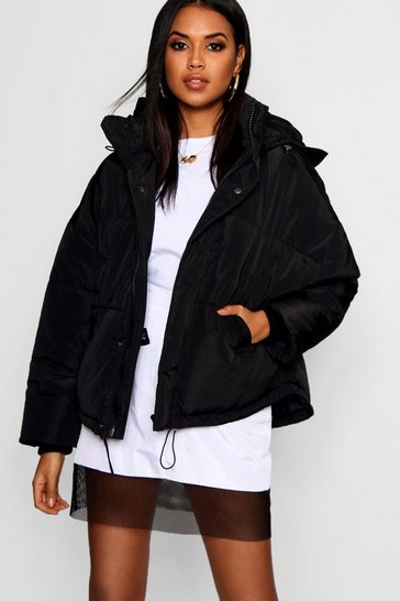 Black Oversized Hooded Puffer Jacket