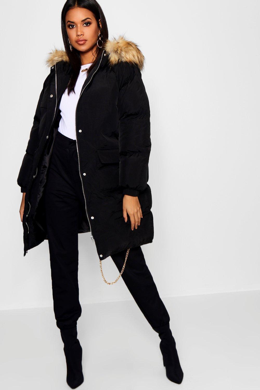 Купить Coats & Jackets, Удлиненное пуховое пальто с капюшоном отделкой из искусственного меха, boohoo