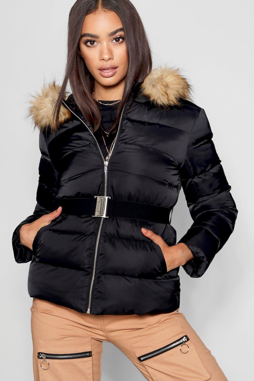 Купить Coats & Jackets, Матовый атласный пуховик с поясом, boohoo
