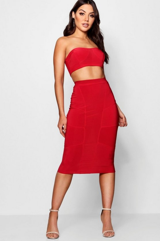 Slinky Seam Detail Bodice Skirt Co-ord Set
