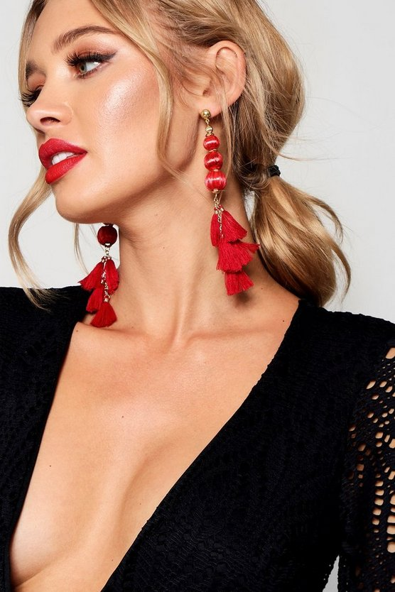 Amy Pom Pom Tassel Statement Earrings
