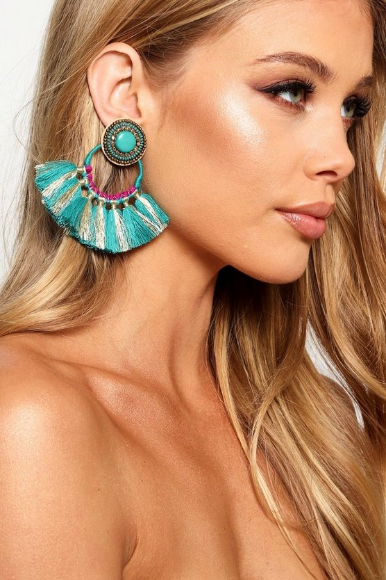 Hope Statement Tassel Fan Earrings