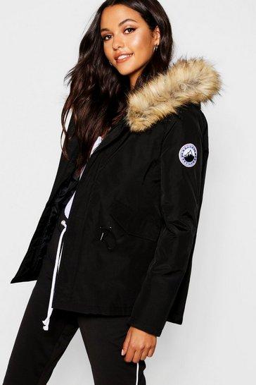 Black Luxe Faux Fur Sporty Parka