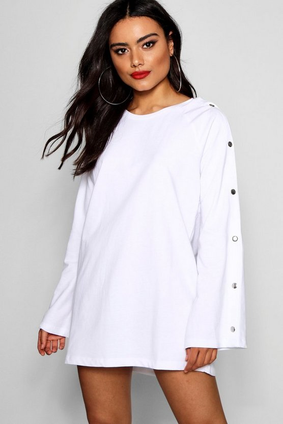 Popper Sleeve Sweat Dress