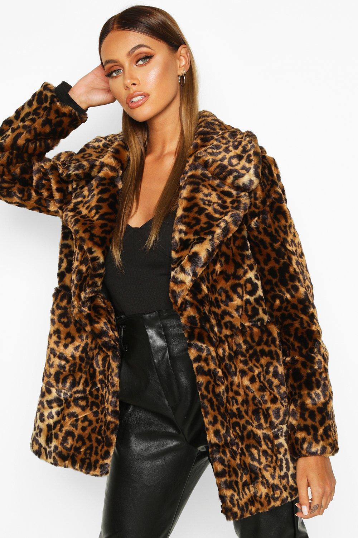 Купить Coats & Jackets, Пальто из искусственного меха с леопардовым принтом, boohoo