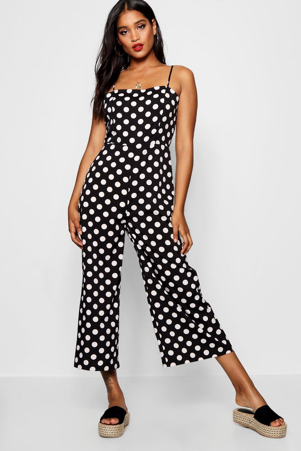 Pre Order Discount Best Store To Get Boohoo Polka Dot Square Neck Jumpsuit Limited Edition Online Fashionable EQl5H