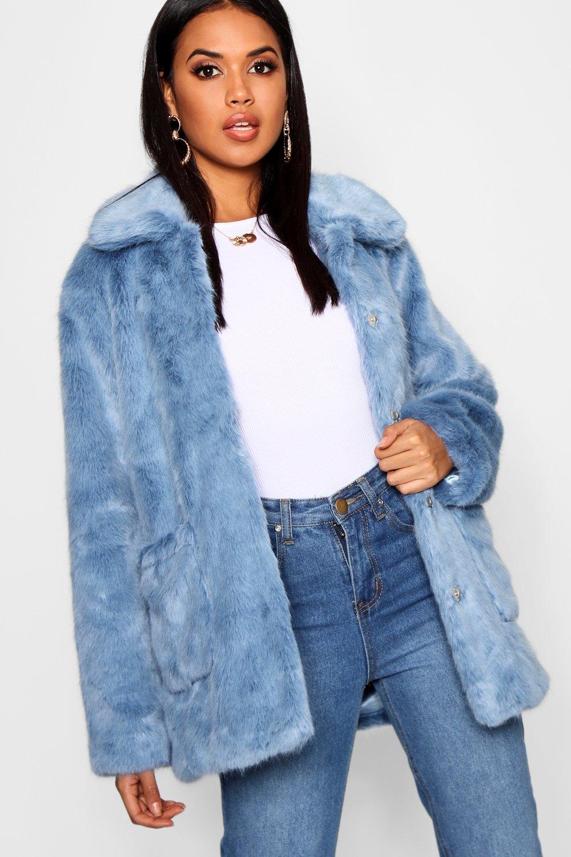 Купить Coats & Jackets, Пальто из искусственного меха с воротником Luxe, boohoo