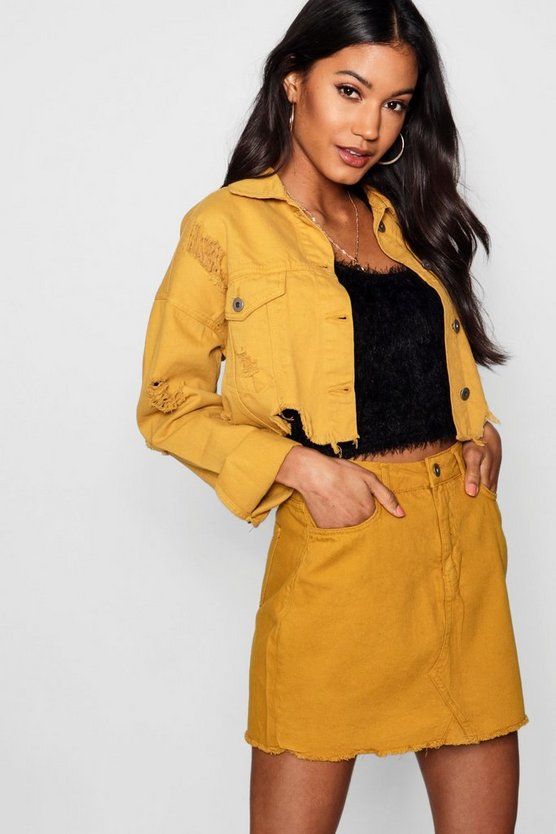 Helen Mustard Denim Mini Skirt
