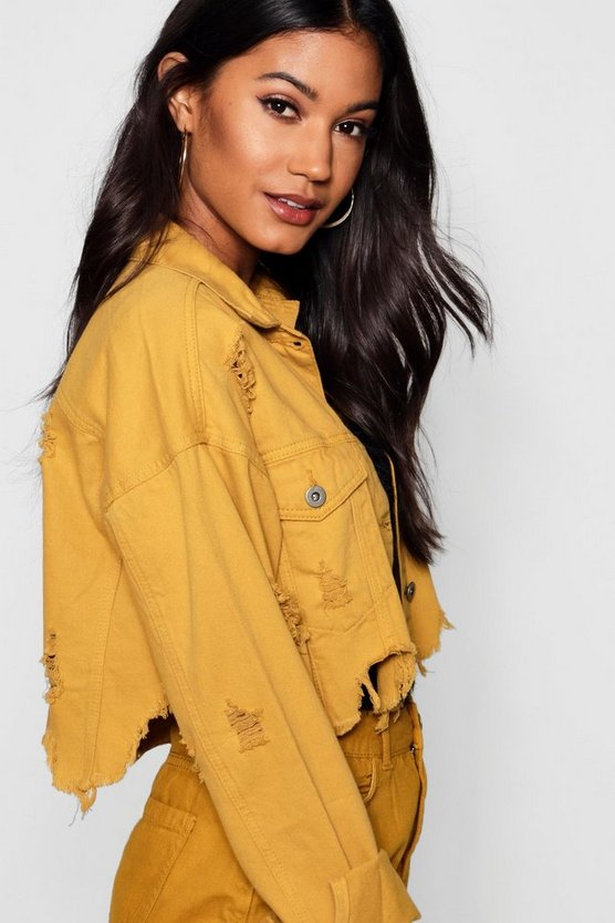 Cropped Mustard Denim Jacket