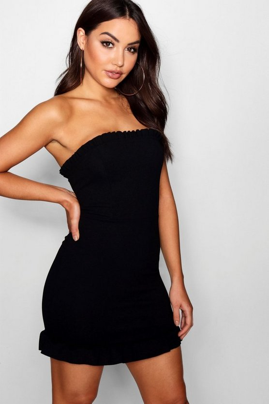 Bandeau Frill Detail Bodycon Dress