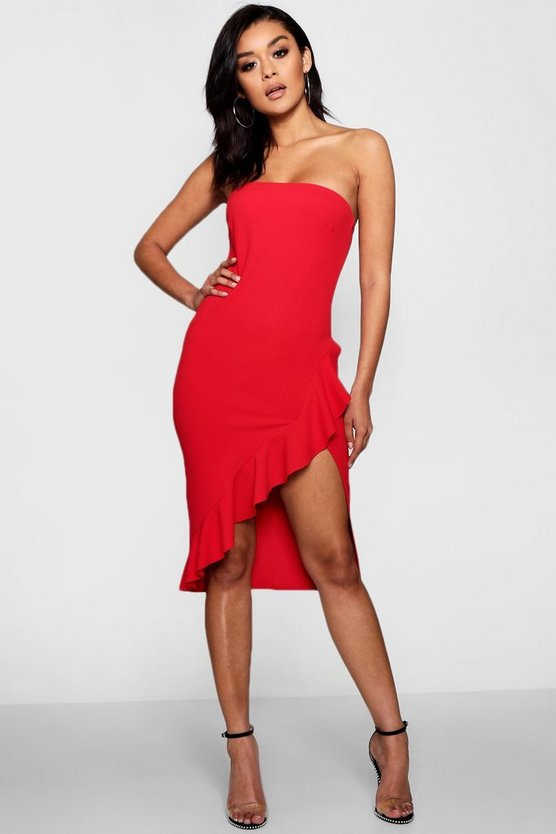 Saffron Bandeau Split Front Ruffle Midi Dress