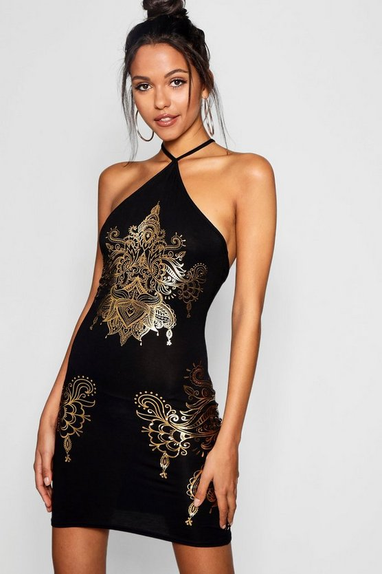 Rose Halterneck Foil Mandala Print Bodycon Dress