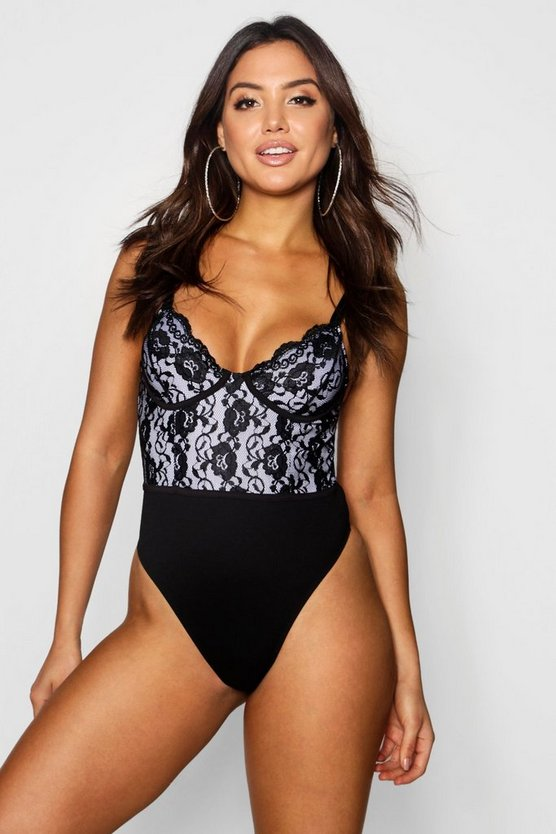 Maisy Lace Panelled Bodysuit