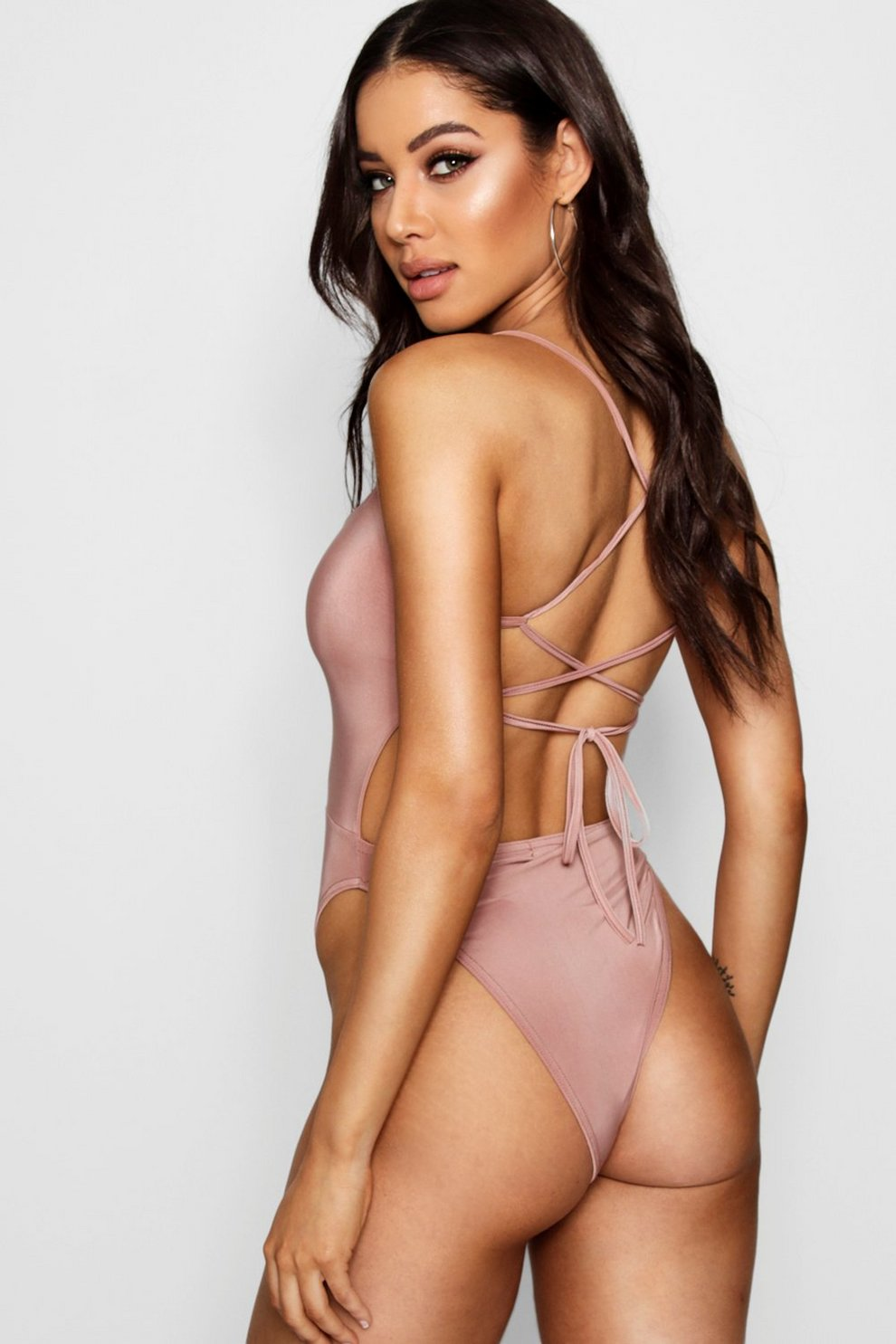 Boohoo Lace Up Back Detail Bodysuit Buy Cheap The Cheapest Cheap Sale With Credit Card XtgUFo