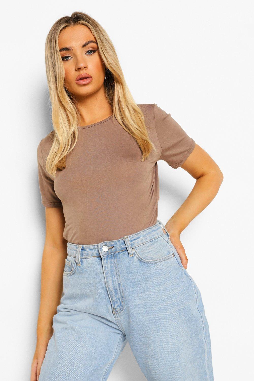 Womens Schlichter T-Shirt-Body - Mokkabraun - 32, Mokkabraun - Boohoo.com