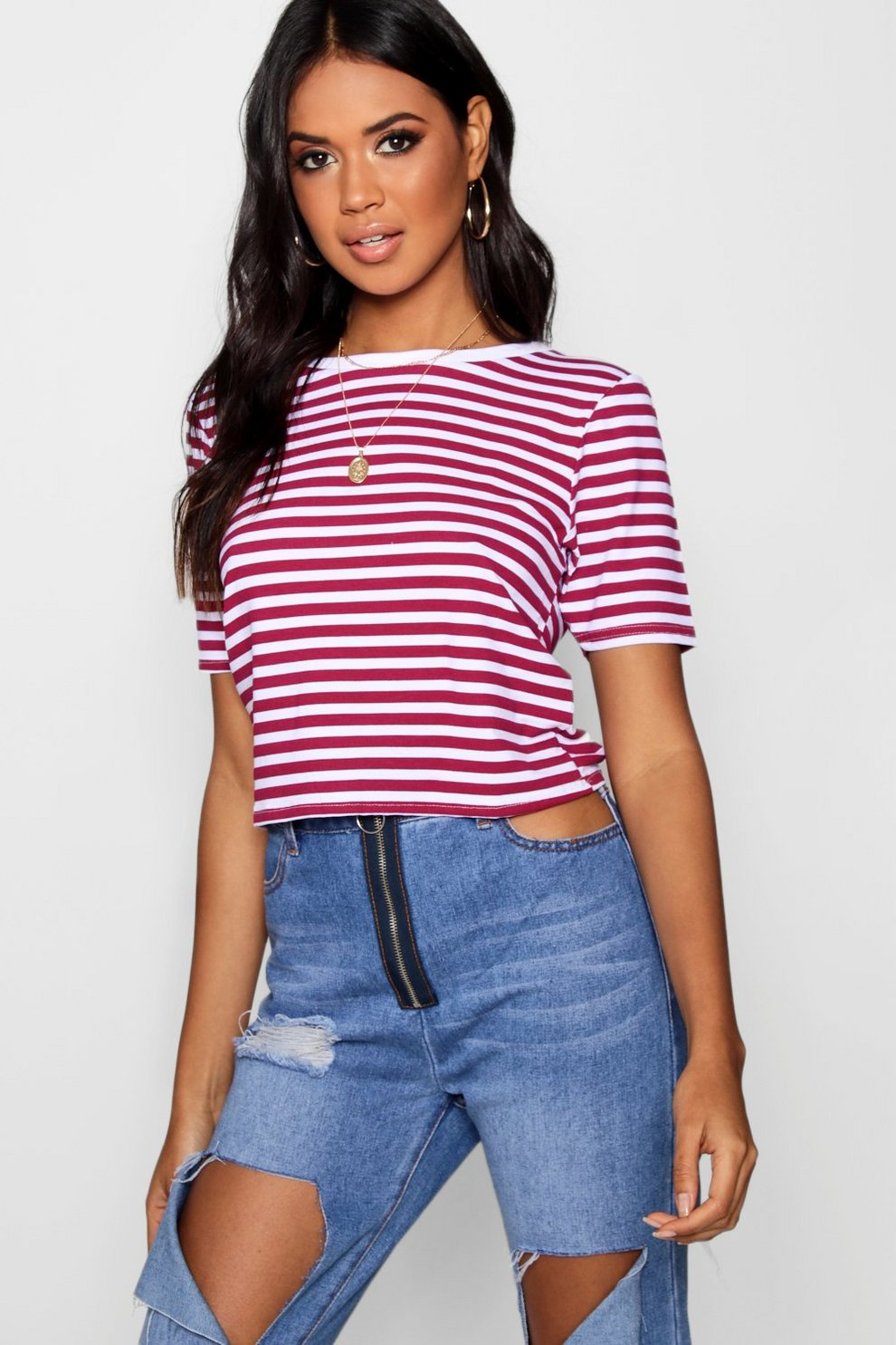 Boohoo Contrast Rib Crop T-Shirt Limited New Shopping Online Original Clearance Footlocker Free Shipping s3Abj