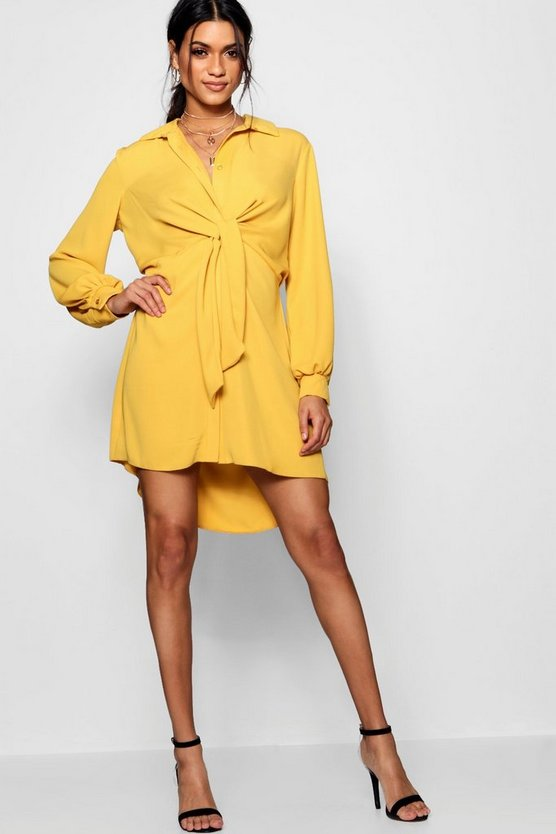 Olivia Twist Front Woven Shirt Dress