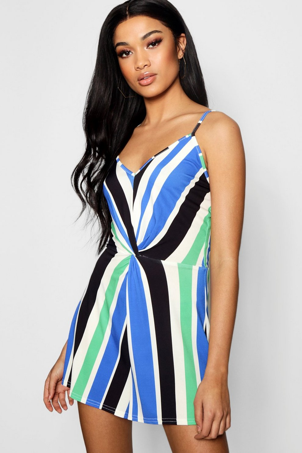 Boohoo Strappy Twist Front Stripe Playsuit Offer Buy Cheap Best Prices Cheap Footaction DxTLxDmvn