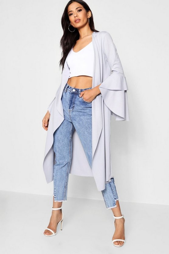Ruffle Sleeve Duster Jacket