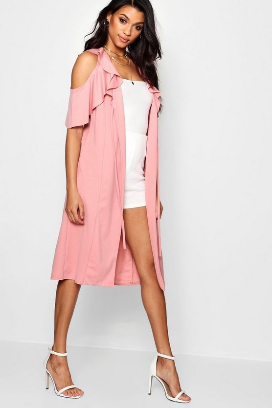Lily Cold Shoulder Frill Duster Jacket