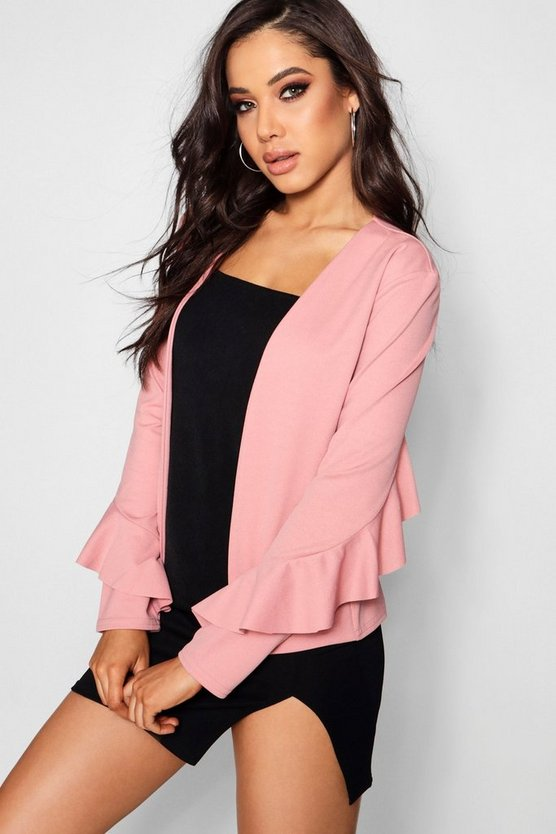 Maria Frill Sleeve Detail Duster Jacket