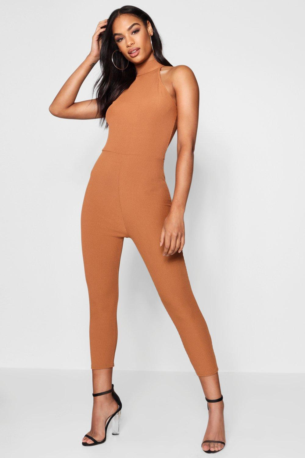 Купить High Neck Ribbed Jumpsuit, boohoo