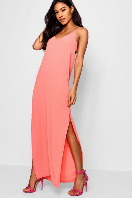 Plunge Floor Sweeping Maxi Dress