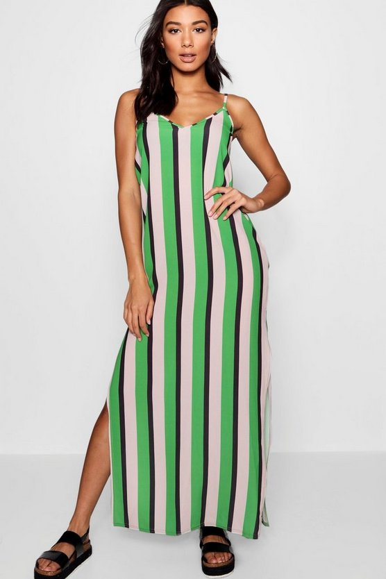Plunge Striped Maxi Dress