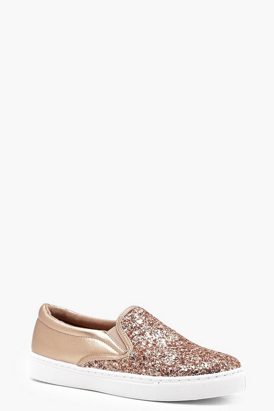Poppy Glitter Slip On Skaters