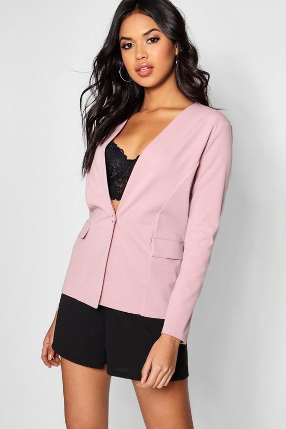 Annie Button Detail Pocket Blazer
