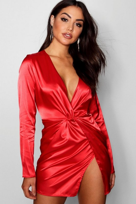 Satin Twist Front Wrap Dress
