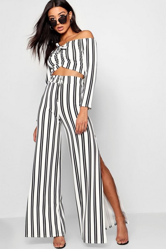 Maxine Stripe Bardot Flare Leg Co Ord Set by Boohoo