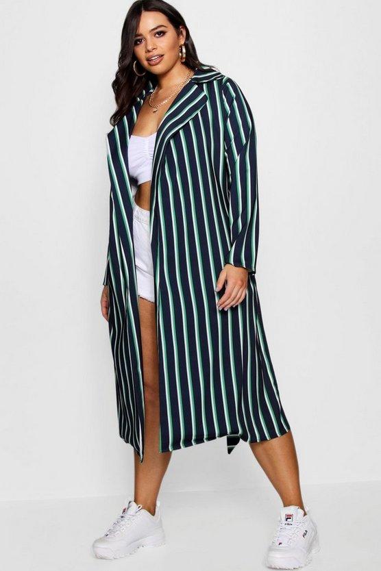 Zendaya Edit Stripe Trench Coat