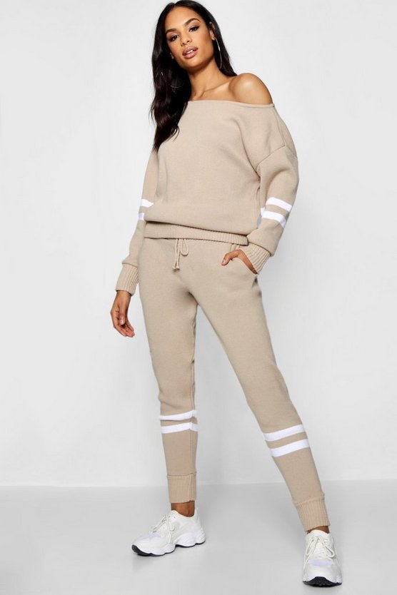 Sport Stripe Detail Knitted Jogger Set